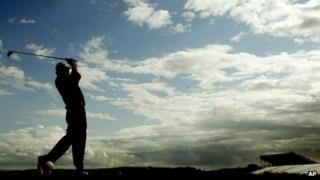 Ernie Els playing Troon golf course in 2004