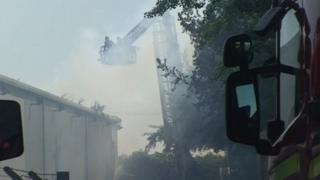 Firefighters at the MW White factory at Ketteringham