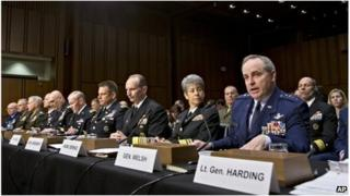 US military commanders assemble for a congressional hearing on recent sexual assault cases in Washington DC, 4 June 2013