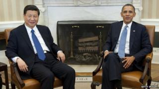 Xi Jinping and Barack Obama.