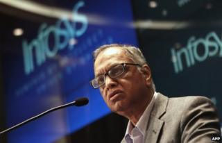 """In this photograph taken on June 1, 2013, founding member of Infosys, N.R. Narayana Murthy, speaks at a press conference at the company""""s Indian headquarters in Bangalore"""