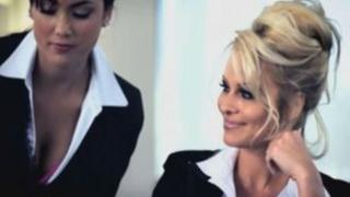 Pamela Anderson and a business colleague
