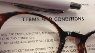 Terms and conditions with glasses