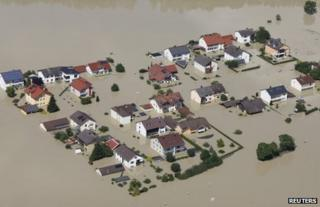 A flooded hamlet near Deggendorf, southern Germany, 5 June