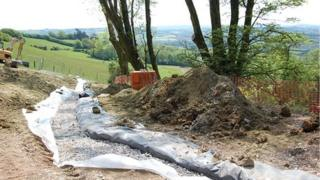 Drainage works at the top of the slopes at Beaminster Tunnel