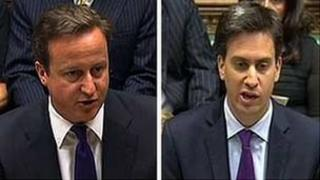 David Cameron ac Ed Miliband