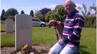 Mike Jackson at the grave of his son-in-law Kevin Fortuna
