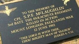 Memorial to Cpl McLaughlin