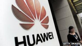 File photo of Huawei sign