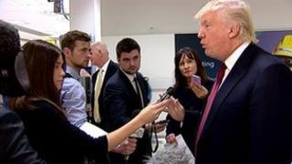 Donald Trump arrives in Aberdeen