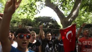 Turkish demonstrators in Taksim Squre in Istanbul