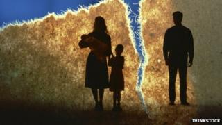 Silhouette of family separated