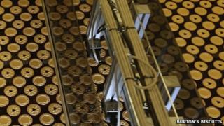 Jammie Dodgers on production line at Burton's Biscuit factory