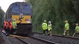 The train pulled into a disused station while fire crews tackled the blaze