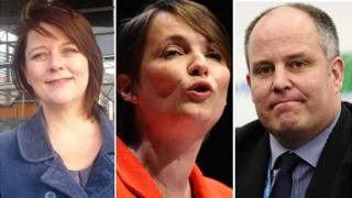 Plaid Cymru leader Leanne Wood (l), Welsh Liberal Democrats leader Kirsty Williams and Welsh Conservative leader Andrew RT Davies