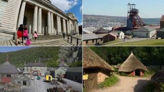 Clockwise: National Museum Cardiff, Big Pit, Blaenavon, St Fagans National History Museum, National Slate Museum, Llanberis