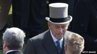 Duke of Edinburgh at Buckingham Palace garden party