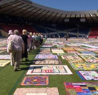 Hampden covered in quilts