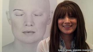 Jennifer Chambers and her portrait without her wig