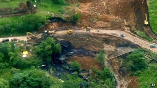 Aerial view of the oil spill in Ecuador's Amazonian region