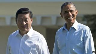 "Media feel President Xi Jinping (left) and his US counterpart Barack Obama have started a ""new chapter"" in bilateral ties"
