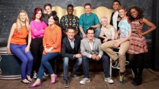 The Blue Peter hopefuls with BBC presenters Dick and Dom