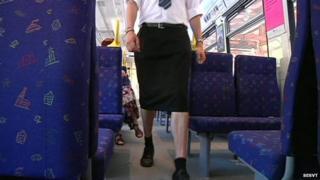 Swedish train driver in skirt!
