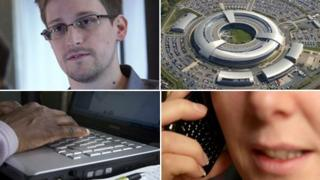 Edward Snowden, GCHQ, man using computer, woman on phone