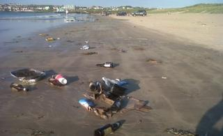 Discarded litter at Portstewart Strand at the weekend