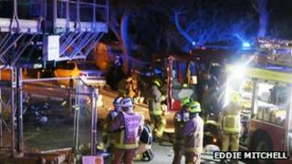 Firefighters at the scene of a blaze in Whitehawk, Brighton