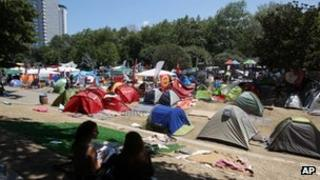 Protesters camping in Taksim Square, Istanbul, 10 June 2013