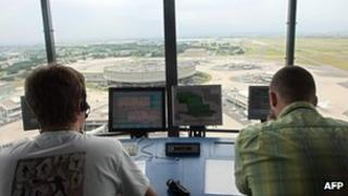 Air traffic controllers at Roissy Charles de Gaulle airport, Paris (file image)
