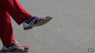 Man wearing shoes with Union Jack motif in Vienna