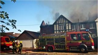 Fire at Salterns Lane in Bursledon