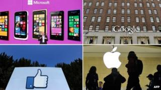 Combination photo of corporate logos of Microsoft, Google, Facebook and Apple