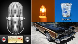 Skeuomorphs: iPhone voice memo app, electric candle, Windows recycle bin app; vintage Ford car with fake wood trim