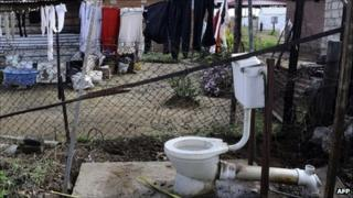 This picture taken on 10 May 2011 shows open air toilets in Rammulotsi township near Viljoenskroon