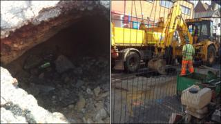 Holes in High Road and High Street, Gorleston