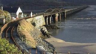 The railway line and bridge at Barmouth