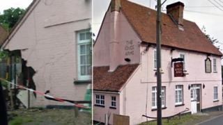 The damage caused to the wall of the public house building in Lawford (left). The pub as it was (right).