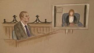 Artist impression of Jeremy Forrest at Lewes Crown Court