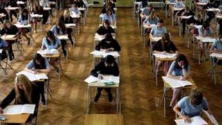 Sitting GCSE exam