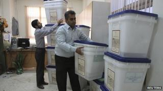 Ballot boxes prepared in the northern Iranian city of Amol. 13 June 2013