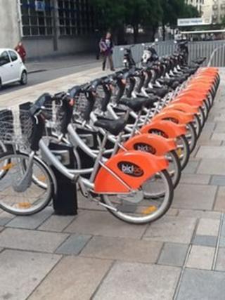Dozens of bike-hire racks in Nantes, France