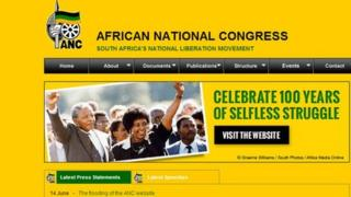 Screen grab of the ANC website
