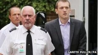 Jeremy Forrest arriving at Lewes Crown Court