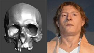 A 3D scan of the skull and a reconstruction of the man's face