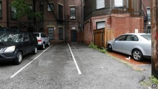 The parking spaces behind 298 Commonwealth Avenue in Boston on 14 June 2013