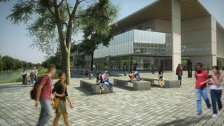 Artist's impression of University of Northampton Waterside campus