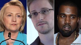 Hillary Clinton, Edward Snowden, Kanye West